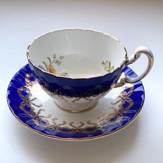 エインズレイ(Aynsley China)のエインズレイ ティーカップ カップ&ソーサー バタフライ ブルー 青(グラス/カップ)