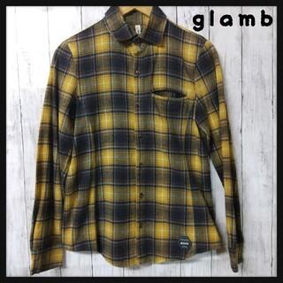 グラム(glamb)のglamb グラム チェック ネル シャツ 1 S 長袖 黄色 紺(シャツ)