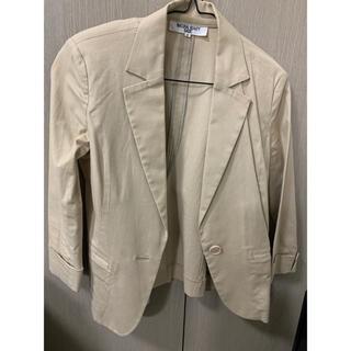 ナチュラルビューティーベーシック(NATURAL BEAUTY BASIC)のジャケット ベージュ 七分袖 混綿 薄手 ナチュラルビューティーベーシック(テーラードジャケット)