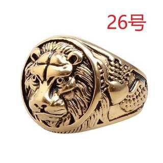 迫力抜群 王者 獅子 ライオン ゴールド リング 指輪 26号(リング(指輪))