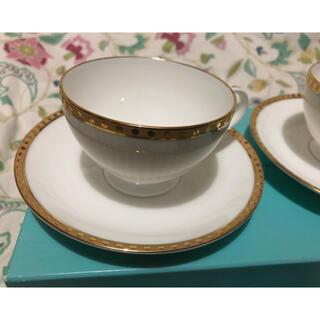 ティファニー(Tiffany & Co.)のティファニー   ペアカップ&ソーサー  ゴールドバント(グラス/カップ)