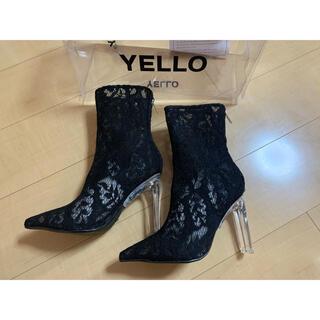 イエローブーツ(Yellow boots)のYELLO ブーツ NORA ショート レース柄(ブーツ)