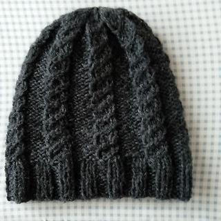 手編み帽子(ダークグレー)(帽子)