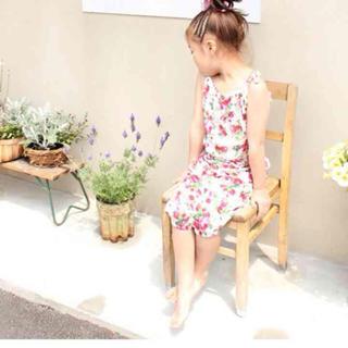 新品☆花柄オールインワン☆ホワイト120(ワンピース)