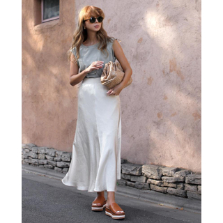 ルームサンマルロクコンテンポラリー(room306 CONTEMPORARY)の★新品★【room306】Satin Flare Design Skirt(ロングスカート)