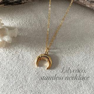 シールームリン(SeaRoomlynn)の427.ステンレス製/デザインMoonネックレス/ゴールド/45+5cm(ネックレス)