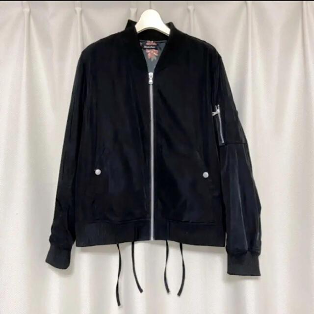 しまむら(シマムラ)の後身レースアップ  ナイロン MA-1 ブラック ブルゾン レディースのジャケット/アウター(ブルゾン)の商品写真