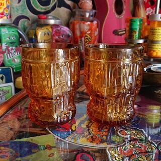 アンバーガラス グラス 2個セット(食器)