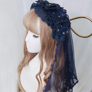 Angelic Pretty - ロリータヘッドドレス ロング エレガント レース 星
