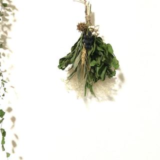 木の実とグリーンのスワッグ シンプル ナチュラル 花材 素材 P(ドライフラワー)