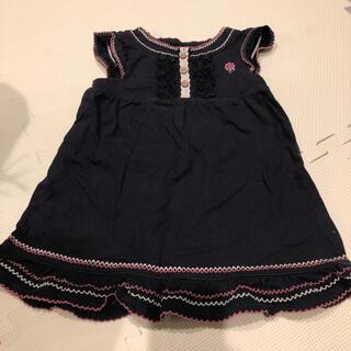 サンカンシオン(3can4on)の黒刺繍ワンピース 100(ワンピース)