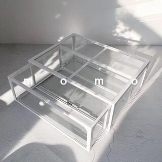 引き出し♡モノトーン♡コスメボックス♡化粧品収納♡白♡ガラス製♡雑貨♡ケース(メイクボックス)
