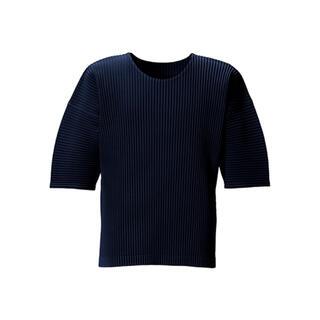 プリーツプリーズイッセイミヤケ(PLEATS PLEASE ISSEY MIYAKE)のオムプリッセ 紺 ネイビー トップス イッセイミヤケ me 美品 BAO(Tシャツ/カットソー(七分/長袖))