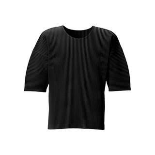 プリーツプリーズイッセイミヤケ(PLEATS PLEASE ISSEY MIYAKE)のオムプリッセ 黒 ブラック トップス イッセイミヤケ me 美品 BAO(Tシャツ/カットソー(七分/長袖))