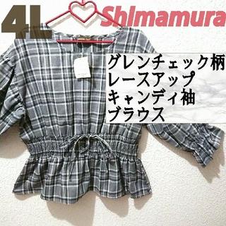 シマムラ(しまむら)の新品 しまむら 4L グレンチェック柄 レースアップ ブラウス♥️GRL GU(シャツ/ブラウス(長袖/七分))