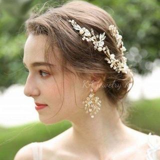Ryo様❤️2点セットピアス&ヘッドドレスブライダル 結婚式 ウェディング お花(ウェディングドレス)