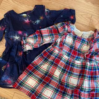 babyGAP - GAP 2枚セット 90 ワンピース 長袖 チェック 星柄 女の子 スカート