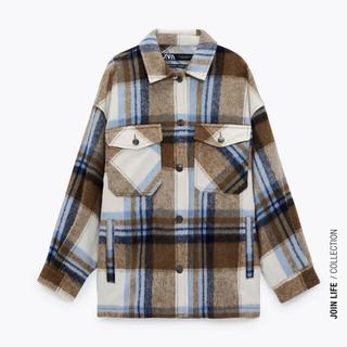 ZARA - ウール混チェック柄シャツジャケット