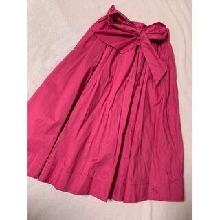 エブリン(evelyn)のevelyn♡リボンギャザースカート♡ピンク(ひざ丈スカート)