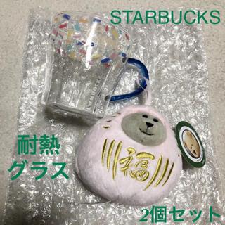 スターバックスコーヒー(Starbucks Coffee)の未使用 べアリスタだるま 耐熱グラスマグ(ぬいぐるみ)