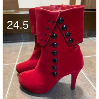 ミドルブーツ ミディ 赤×黒 24.5   レディース(ブーツ)