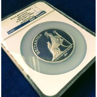 大型銀貨 2013イギリス ブリタニア10£5oz PF69ファーストR COA(貨幣)