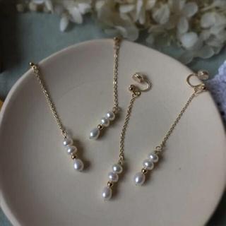ザラ(ZARA)のmoibijou 淡水Pearl slim earring イヤリング(イヤリング)