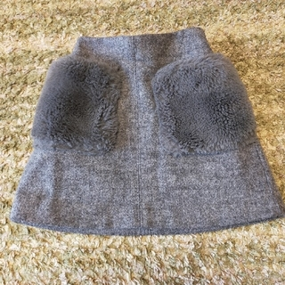 GU - 子供 スカート フェイクファー付き 110センチ