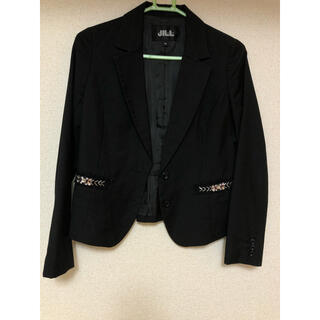 ジルスチュアート(JILLSTUART)のペプラム ジャケット ブラック 春 黒 可愛い 冠婚葬祭 通勤 就活 綺麗(テーラードジャケット)