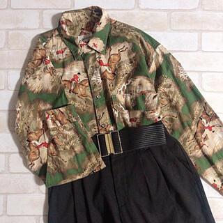 グリモワール(Grimoire)のメンズ 騎馬 ヨーロピアン コットン 綿 深緑 茶色 レトロ 古着 柄シャツ(シャツ)