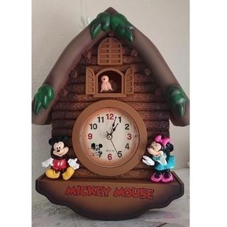 ディズニー(Disney)のディズニー壁掛け時計   ミッキー&ミニー  (新品未使用)(掛時計/柱時計)