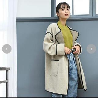 シマムラ(しまむら)のウールパイピングコート 淡肌色 M(ノーカラージャケット)