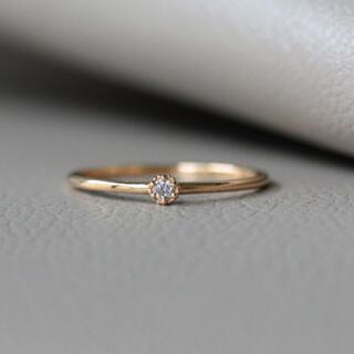 ノワールドプーぺ K18 6本爪×ミル 一粒ダイヤモンド ゴールド リング(リング(指輪))