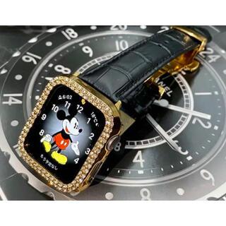 アップルウォッチダイヤカバー ベルトセット 本革レザー クロコダイルベルト(腕時計(デジタル))