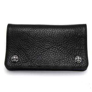 クロムハーツ(Chrome Hearts)のクロムハーツ 財布 1zipクロスボタンレザーウォレット ブラック(折り財布)