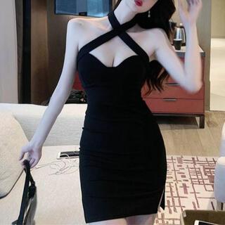 ザラ(ZARA)のデコルテショルダークロスデザインワンピース キャバ ドレス(ナイトドレス)
