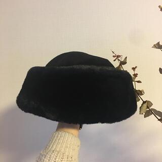 エディットフォールル(EDIT.FOR LULU)のお値下げしました!ボンバーハット トークハット ブラック 美品 ファー  帽子(ハット)