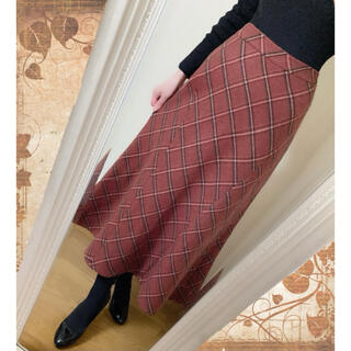 サンタモニカ(Santa Monica)のヴィンテージ ✽ チェック柄ウールロングスカート ✽ 日本製(ロングスカート)