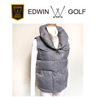 エドウィン(EDWIN)の美品 エドウィンゴルフ ダウンベスト グレンチェック Mサイズ(ウエア)