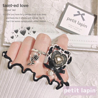 アンクルージュ(Ank Rouge)の黒リボンのハートリング セット 指輪 ハンドメイド(リング)