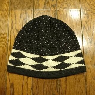 アナスイ(ANNA SUI)の美品 アナスイ ビーニー ニット帽 黒×ベージュ 日本製(ニット帽/ビーニー)