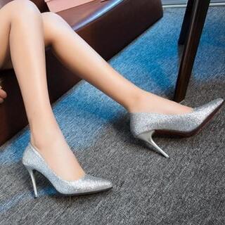 新品 キラキラ ハイヒール パンプス グリッター 銀 シルバー 22.5 cm(ハイヒール/パンプス)