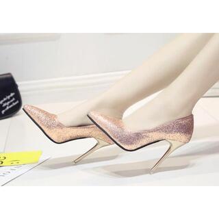 新品 シンデレラ ハイヒール パンプス グリッター ピンク 22.5 cm 靴(ハイヒール/パンプス)