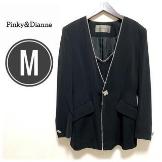 ピンキーアンドダイアン(Pinky&Dianne)のピンキーアンドダイアン ラインストーン ワンボタン スカートスーツ M 黒(スーツ)