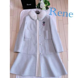 フォクシー(FOXEY)のRene フォックスファー襟 wool 100%コート36 超美品 foxey(毛皮/ファーコート)