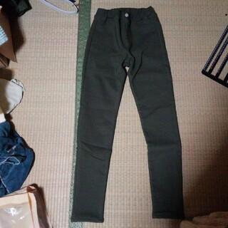 新品、GU暖かい裏起毛、パンツ、カ─キ、150