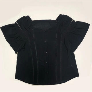 ジーユー(GU)のGU ブラウス ブラック(カットソー(半袖/袖なし))