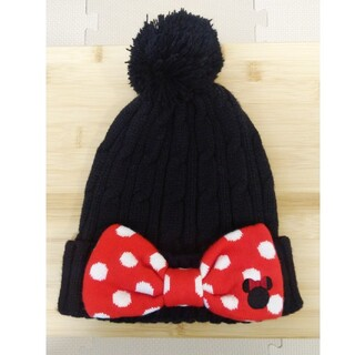 ディズニー(Disney)のディズニー ミニーマウス ニット帽 レディース 黒(ニット帽/ビーニー)
