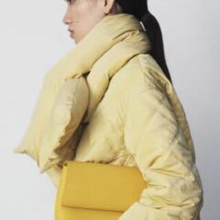 ミラオーウェン(Mila Owen)の新品タグ付 ノーカラーAラインキルティングジャケット 黄色 Mila Owen(ダウンジャケット)