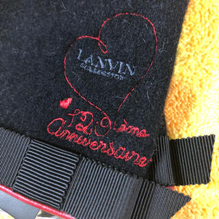 ランバン(LANVIN)のランバン ウール手袋黒リボンハート刺繍(手袋)